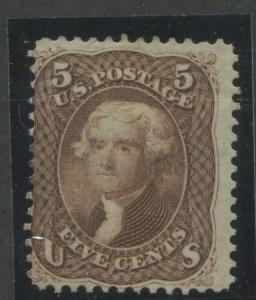 1863 US Stamp #76 5c Mint No Gum Average Catalogue Value $525