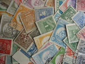 Scrap pile of 45 old Greece,Greek and Russian area (duplicates, mixed condition)