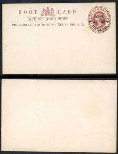 Cape Of Good Hope QV 1d Brown Postcard one Halfpenny O/P Mint