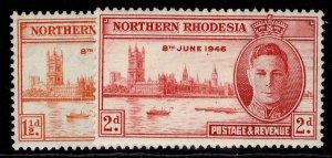 NORTHERN RHODESIA GVI SG46-47, VICTORY set, M MINT.