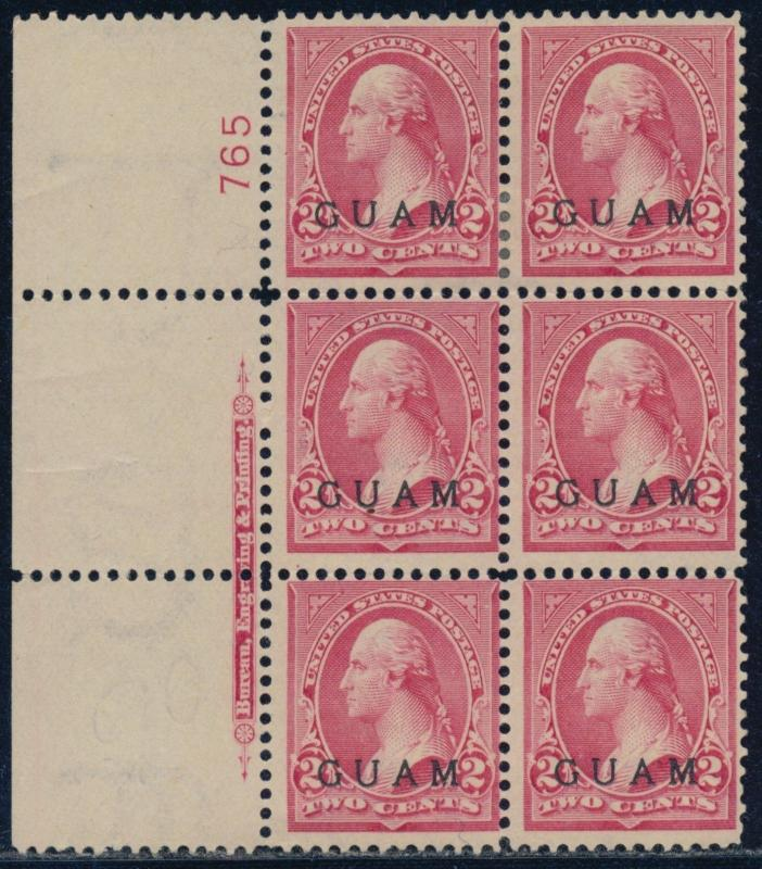 GUAM #2a PLATE #765 BLOCK OF 6 WITH IMPRINT F-VF UNUSED CV $375.00 BQ8515