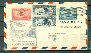 US 1929 FIRST FLIGHT COVER MIAMI to CRISTOBAL CANAL ZONE..VERY NICE