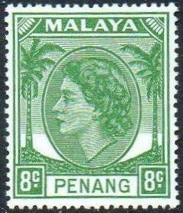 Penang 1955 8c green MH