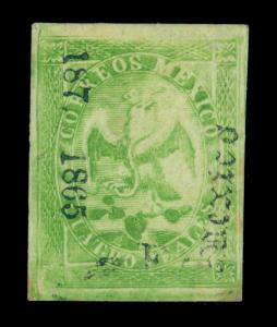 MEXICO 1865  Eagle 4r green - MEXICO 187 - dist. ovpt Sc#24 mint MH VF-XF