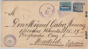 HONDURAS -  POSTAL HISTORY:  COVER to SPAIN with BRITSH CENSOR TAPE 1918