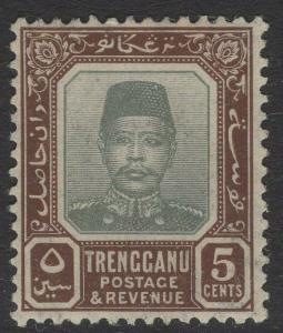 MALAYA TRENGGANU SG7 1915 5c GREY & BROWN MTD MINT