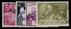 TRINIDAD & TOBAGO GVI SG261-264, anniversary of UPU set, FINE USED.