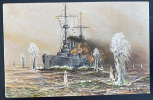 1915 Germany Picture Postcard Cover U boat Fight In High Seas Russian Battleship