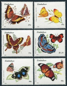 Zimbabwe 670-675,MNH.Michel 488-493. Butterflies 1992.Foxy charaxes,Eronia leda,