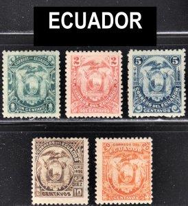 Ecuador Scott 55-59 F to VF mint OG H or HR reprints.