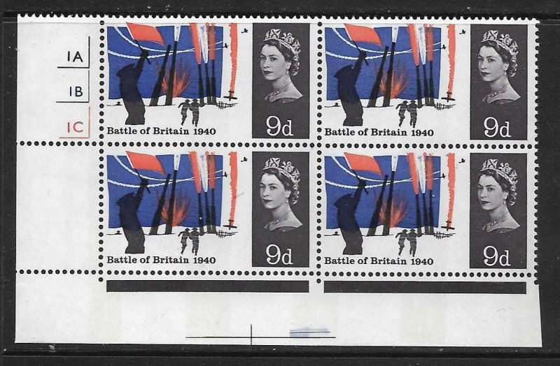 Sg 677pa 1965 Battle Of Britain 9d Phos Cylinder Block With Narrow Bands - MNH