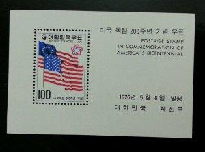 *FREE SHIP Korea America's Bicentenary 1976 Flag Nation (miniature sheet) MNH