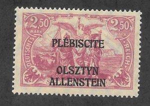 ALLENSTEIN Scott #13 Mint 2.50m O/P Stamp 2017 CV $2.40