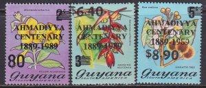 Guyana (1989) #2225-7 MNH; Flowers OVP AHMADIYYA CENTENARY 1889-1989;stock photo