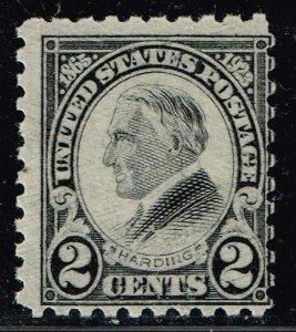US STAMP #612 – 1923 2c Harding, black, perf 10 MH/OG