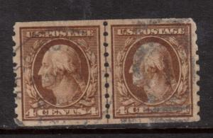 USA #395 VF Used Line Pair **With Certificate**
