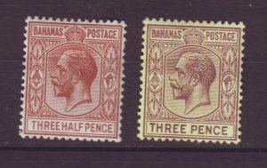 J24086 JLstamps 1921-34 bahamas mh #73,76 kings