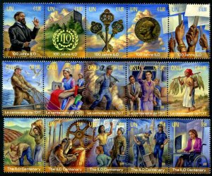 HERRICKSTAMP NEW ISSUES UNITED NATIONS Int'l Labor Organization Strips