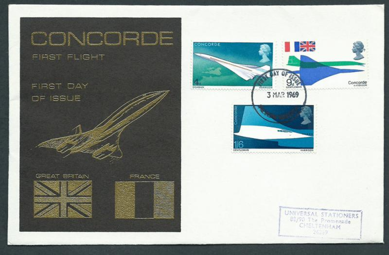 GB Concorde 1969 First Flight VFU  with SG 784-786 - airc...