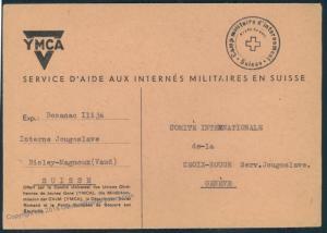 Switzerland WWII Internee Camp Bioley-Magnoux Jugoslavian Prisoner Cover Y 53924