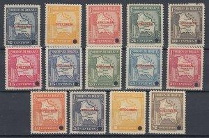 Bolivia 1935 Complete Set with Specimen overprint. MNH. Scott 219-232var