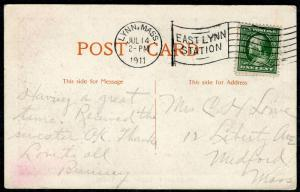Postcard - LYNN MA TO MEDFORD MA - JUL 14 1911 PLEASANT VIEW COTTAGE - S6368