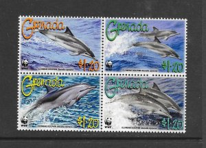 Grenada MNH 3654a-d Dolphins WWF 2007