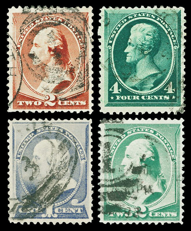 Scott 210,211,212,213 1883-1887 1c-4c Large Banknotes All Used F-VF Cat $28.85