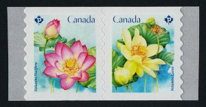 Canada 3089ai coil pair MNH Flowers, Lotus