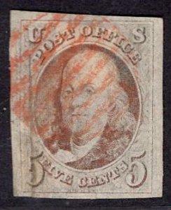 US Stamp #1 Red Brown USED w/ REPAIR SCV $350. 4 Frame Lines.