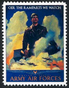 Patriotic WW2 Poster Stamp - Army Air Forces - Cinderella