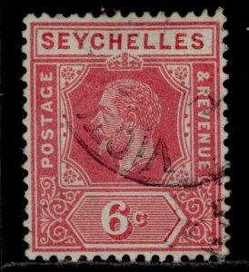 SEYCHELLES GV SG85a, 6c rose, FINE USED.