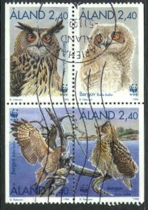 ALAND ISLANDS 1996 WWF OWLS Booklet Stamps Set Sc 122-125 VFU