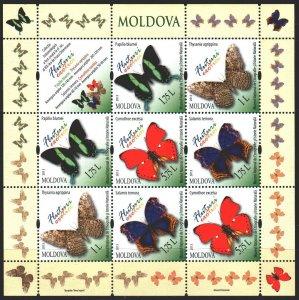 Moldova. 2013. Small sheet 838-41. Butterflies. MNH.