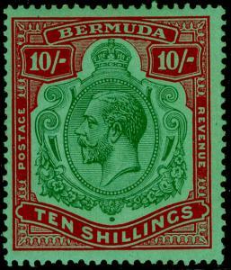 BERMUDA SG92G, 10s green & red/dp emerald, LH MINT. Cat £150.