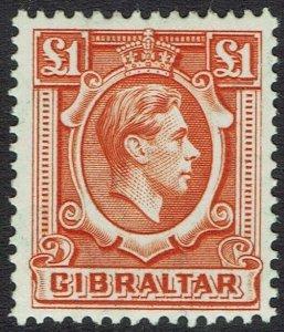 GIBRALTAR 1938 KGVI 1 POUND MNH **