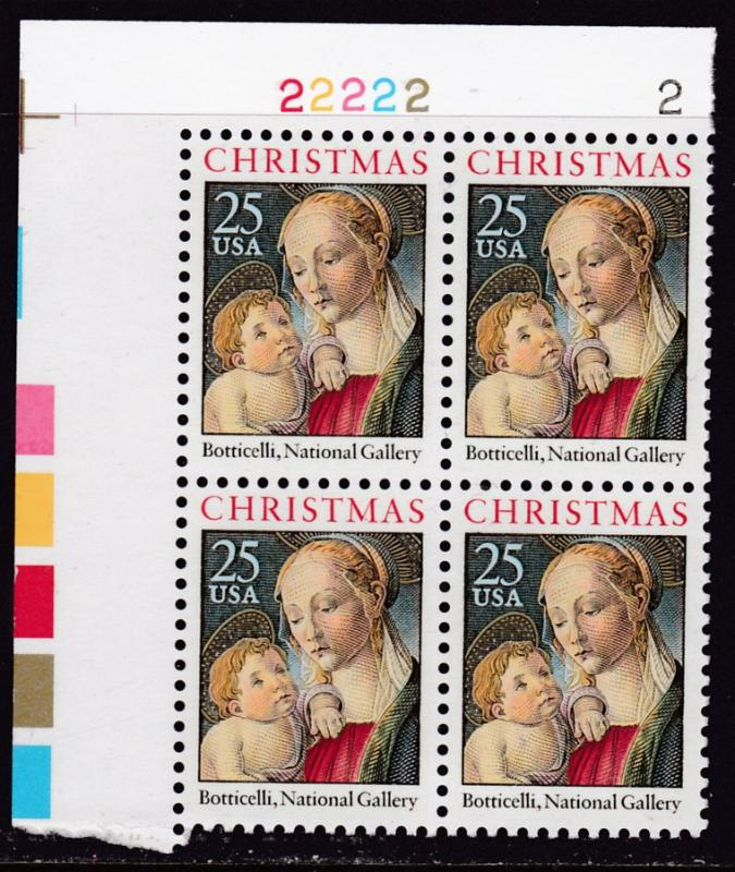 United States 1988 Christmas Issue (Religious) Plate Nr.Block of Four VF/NH