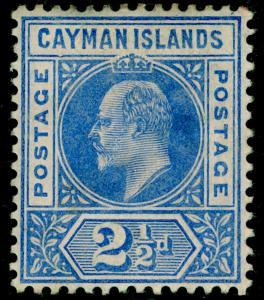 CAYMAN ISLANDS SG10a, 2½d Brt Blue DENTED FRAME variety, M MINT. Cat £375.