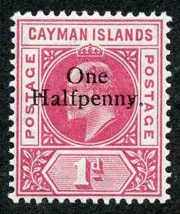 Cayman Is SG17 KEVII One Halfpenny on 1d carmine m/m