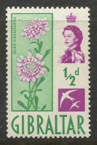 Gibraltar - Scott 147 - QEII Definitive Issue -1960- MNH - Single 1/2d Stamp