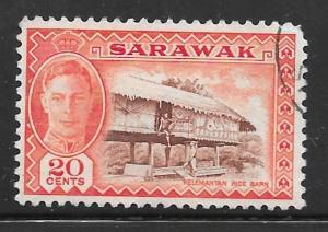 Sarawak 189: 20c Kelemantan rice barn, used, F-VF