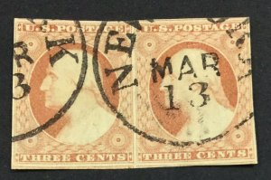 MOMEN: US STAMPS #11 USED PAIR LOT #44058