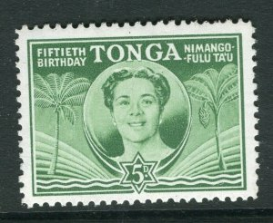TONGA; 1950 early Queen Salote issue fine Mint hinged 5d. value
