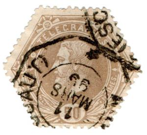 (I.B) Belgium Telegraphs : 50c Bistre (1871)