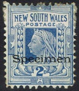 NEW SOUTH WALES 1897 QV SPECIMEN 2D