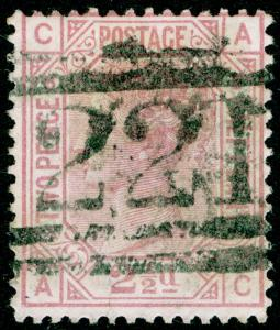 SG141, 2½d rosy mauve PLATE 8, USED. Cat £60. AC