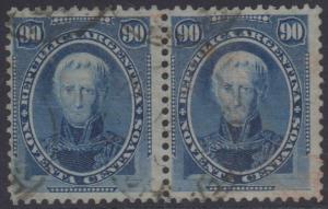 ARGENTINA 1873 SAAVEDRA Sc 26 TOP VALUE PAIR USED F,VF