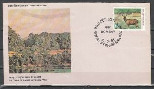 India, Scott cat. 1019. National Park issue. Stag shown. First day cover. *