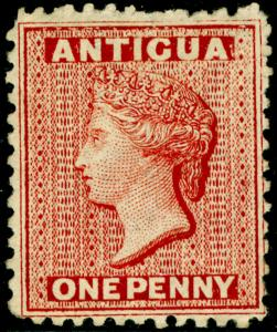 ANTIGUA SG13x, 1d lake, M MINT. Cat £180. WMK CC REV. PERF 12½.