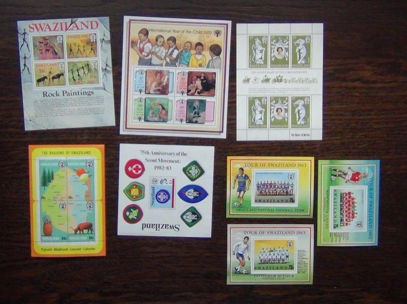 Swaziland 1977 1983 Paintings Football Maps IYC Coronation Scouts M/S  MNH